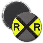 Grey & Black Railroad Crossing 2 Inch Round Magnet