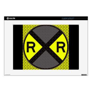 Grey & Black Railroad Crossing Skin For Laptop