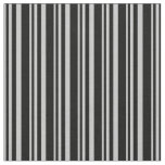 [ Thumbnail: Grey & Black Striped/Lined Pattern Fabric ]