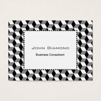 Grey, Black & White 3D Cubes Pattern Business Card