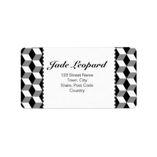 Grey, Black & White 3D Cubes Pattern Personalized Address Labels