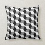 Grey, Black & White 3D Cubes Pattern Pillows