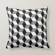 Grey, Black &amp; White 3D Cubes Pattern Pillows (<em>$40.95</em>)