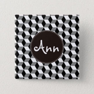 Grey, Black & White 3D Cubes Pattern Pinback Button