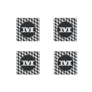 Grey, Black & White 3D Cubes Pattern Stone Magnet