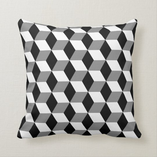 Grey, Black & White 3D Cubes Pattern Throw Pillow