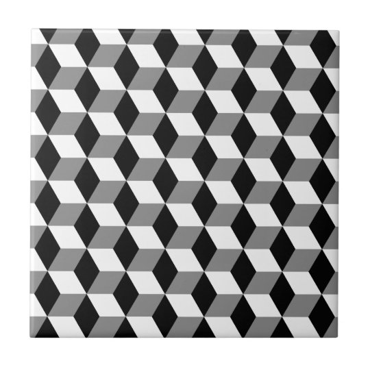 Grey black white 3d cubes pattern tile for Black 3d tiles wallpaper