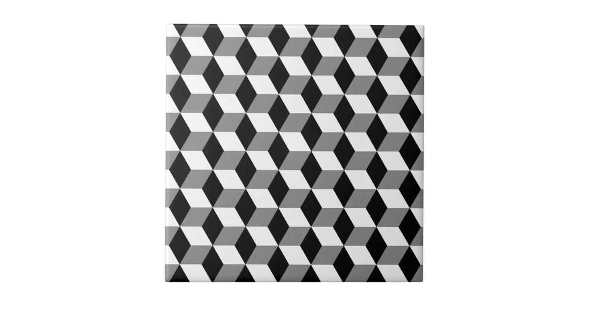 Grey, Black & White 3D Cubes Pattern Tile   Zazzle.com