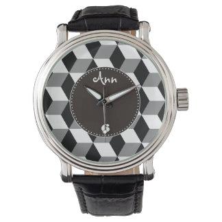 Grey, Black & White 3D Cubes Pattern Wrist Watch