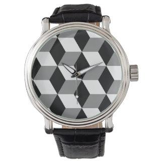 Grey, Black & White 3D Cubes Pattern Wristwatches