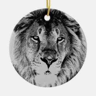 Grey Black & White Lion Christmas Ornaments