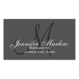 Grey, Black White Monogram Mommy Calling Card Double-Sided Standard Business Cards (Pack Of 100)