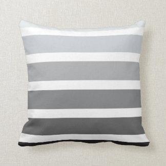 Grey Black White Ombre Horizontal Stripes Pillow
