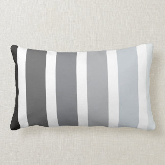 Grey Black White Ombre Stripes Pillow