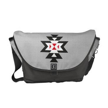 Aztec Themed Grey Black White Red Aztec Navajo Pattern Messenger Bag