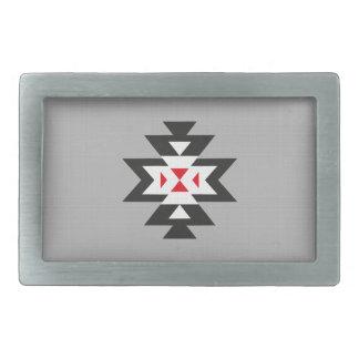 Grey Black White Red Aztec Navajo Pattern Rectangular Belt Buckle