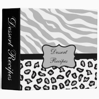 Grey, Black & White Zebra & Cheetah Custom Album 3 Ring Binder