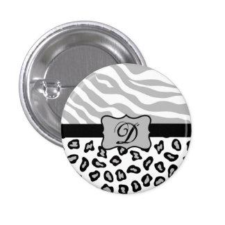Grey, Black & White Zebra & Cheetah Personalized Button