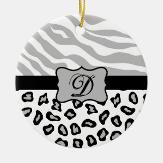 Grey, Black & White Zebra & Cheetah Personalized Ceramic Ornament