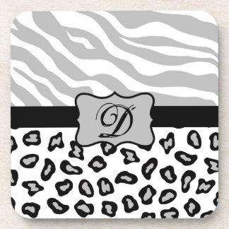 Grey, Black & White Zebra & Cheetah Personalized Coaster