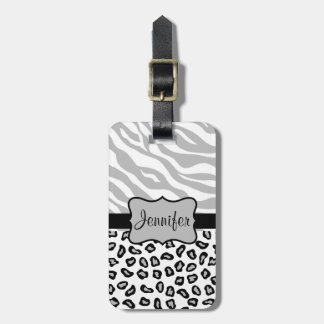 Grey, Black & White Zebra & Cheetah Personalized Tags For Bags