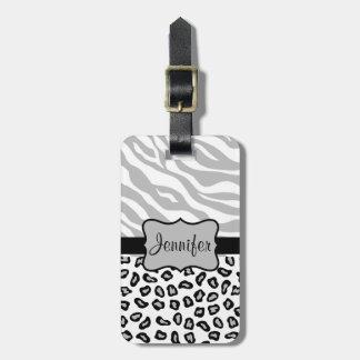 Grey, Black & White Zebra & Cheetah Personalized Luggage Tag