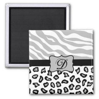 Grey, Black & White Zebra & Cheetah Personalized Magnet