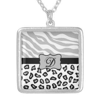 Grey, Black & White Zebra & Cheetah Personalized Pendant
