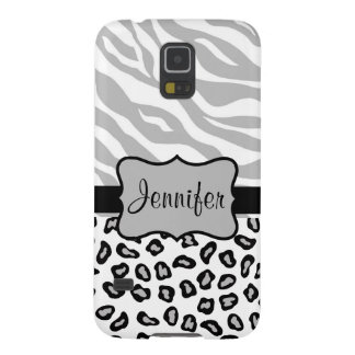 Grey, Black White Zebra Leopard Name Personalized Galaxy S5 Cover