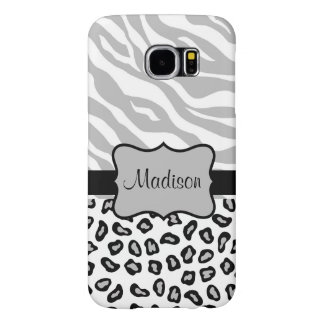 Grey, Black White Zebra Leopard Name Personalized Samsung Galaxy S6 Cases