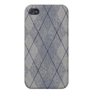 Grey / Blue Arglye Case for iPhone 4