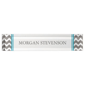 Grey Blue Chevron Desk Nameplate
