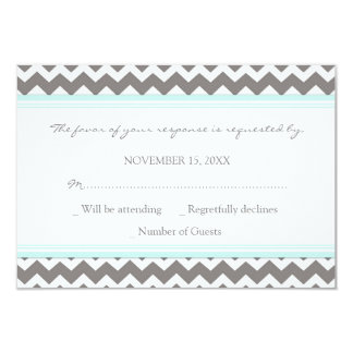 Grey Blue Chevron RSVP Wedding Card