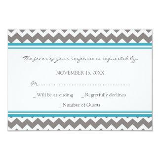 Grey Blue Chevron RSVP Wedding Card Custom Invitations