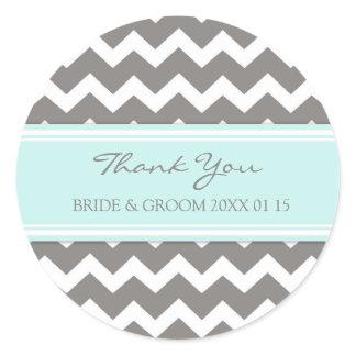 Grey Blue Chevron Thank You Wedding Favor Tags