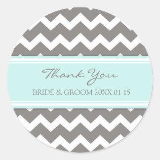 Grey Blue Chevron Thank You Wedding Favor Tags Classic Round Sticker