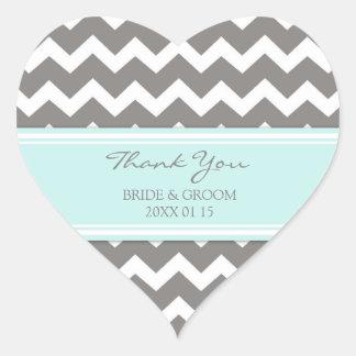 Grey Blue Chevron Thank You Wedding Favor Tags Heart Sticker