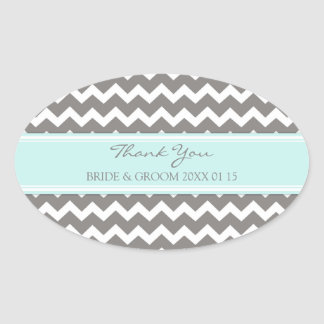 Grey Blue Chevron Thank You Wedding Favor Tags Oval Sticker