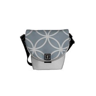 Grey Blue Circular Pattern Messenger Bag