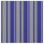 [ Thumbnail: Grey & Blue Colored Lined Pattern Fabric ]