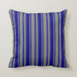 [ Thumbnail: Grey & Blue Colored Lined Pattern Throw Pillow ]