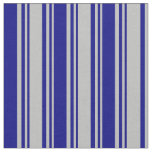 [ Thumbnail: Grey & Blue Colored Stripes Pattern Fabric ]