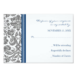 Grey Blue Damask RSVP Wedding Card