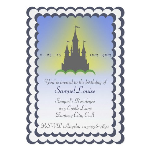 Grey Blue Dreamy Castle In The Clouds Birthday Card