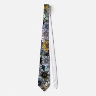 Grey blue floral pattern tie