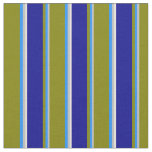 [ Thumbnail: Grey, Blue, Green, Dark Blue, and Beige Stripes Fabric ]