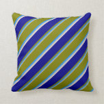 [ Thumbnail: Grey, Blue, Green, Dark Blue, and Beige Stripes Throw Pillow ]