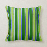 [ Thumbnail: Grey, Blue, Green, Dark Green & Light Cyan Colored Throw Pillow ]