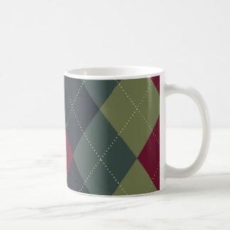 Grey, Blue, Magenta Argyle Mug
