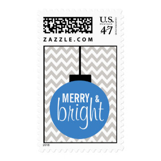GREY BLUE Merry & Bright Chevron Holiday Postage